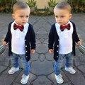 ST157 baby boy roupas da moda menino bonito conjunto bebê venda quente menino camisa de manga comprida + outerwear + calças roupa dos miúdos de varejo