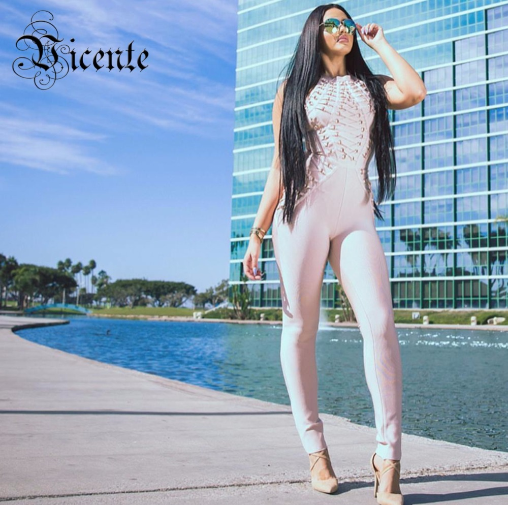Vicente Горячая 2019 Новый Chic Luxe сложная отделка Золотой Металл Украшенные без рукавов оптовая повязку комбинезон для женщин боди