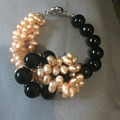 Pink Freshwater Pearl Black Onyx Stone Bead Bracelet  Bangle 100% natural pearls jewelry bracelets for women