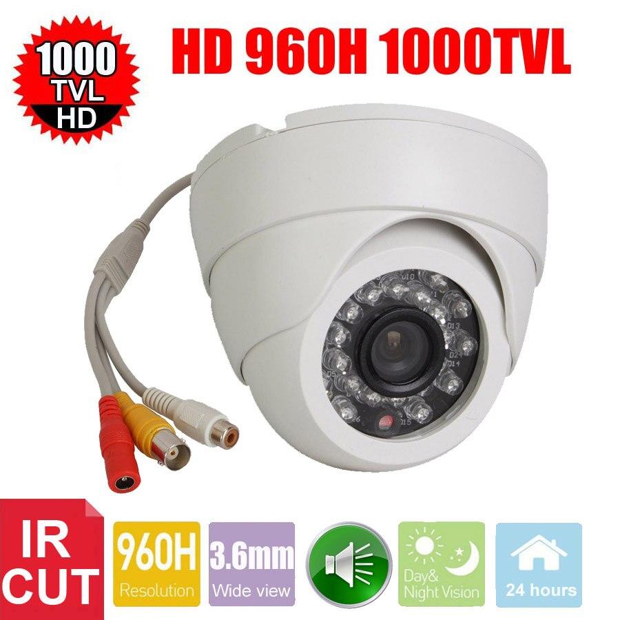 Vanxse CCTV 1/3 CMOS 1000TVL IR-CUT 24 LEDs D/N Câmera de Vigilância Cúpula Interior Câmera De Segurança De Áudio do Microfone