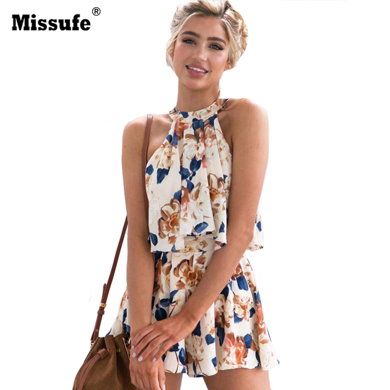 Printed Halter Women Playsuits Casual Bohomian Short Jumpsuit 2018 Casual Spring Summer Overalls Bodysuit