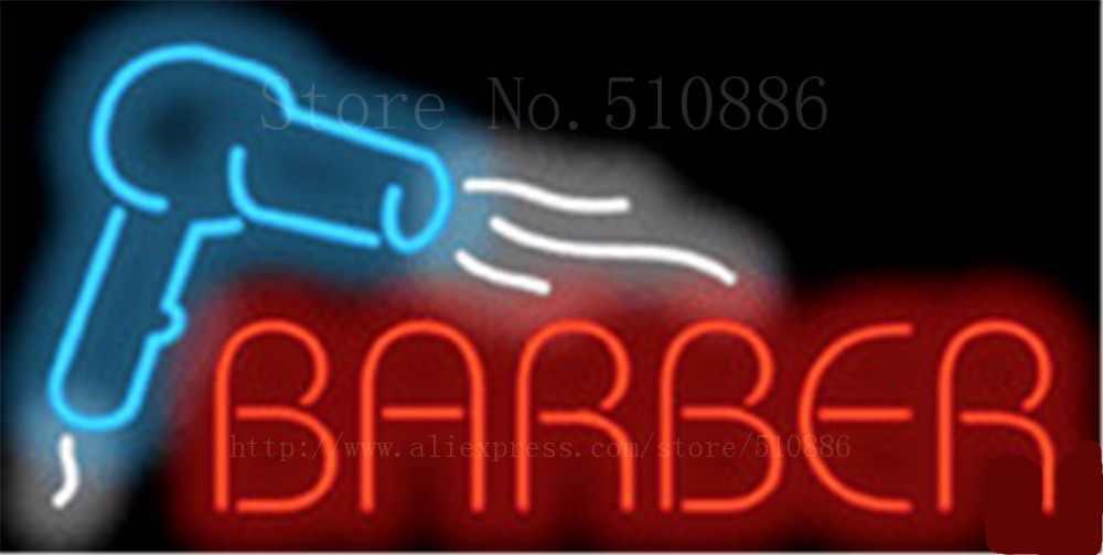 """Barber mit Haartrockner Glasrohr Auto leuchtreklame Businese Handcrafted Shop Zeichen Schild Signage 19 """"x 15"""""""