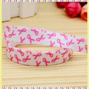 5/8 inch Free shipping Elastic FOE cancer printed headband headwear diy hair band wholesale OEM H4247