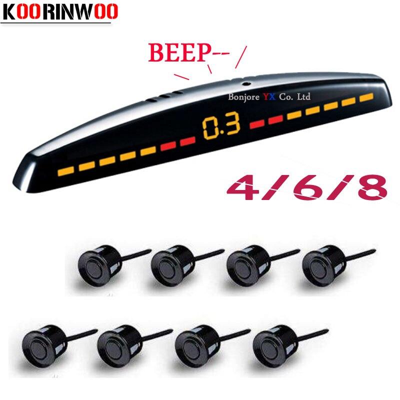 Parktronics Car sensores de estacionamento Koorinwoo 8/6/4 sensores de Backup radar detector Car sensores de estacionamento Sistema de Monitor LED automóveis