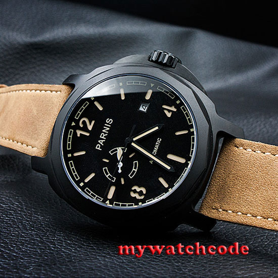 44mm Parnis black dial PVD case Miyota Automatic Sapphire glass Mens watch p695 цена и фото