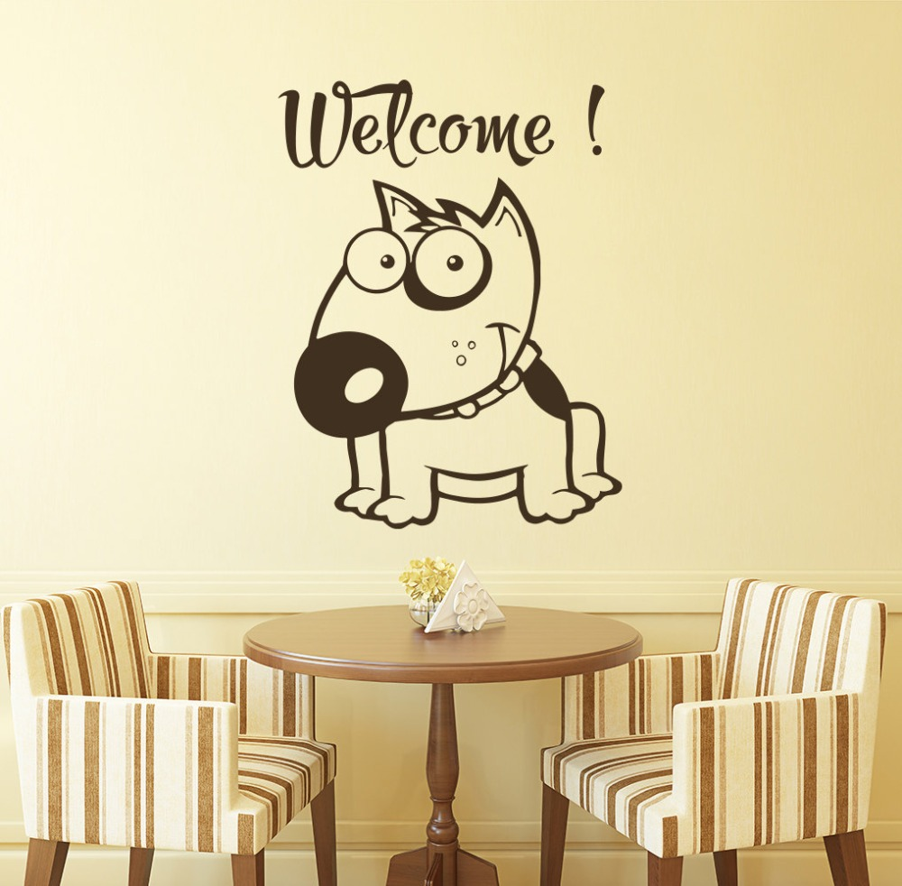 Funny Face Cute Dog With Welcome Quotes Art Wall Sticker Home ...