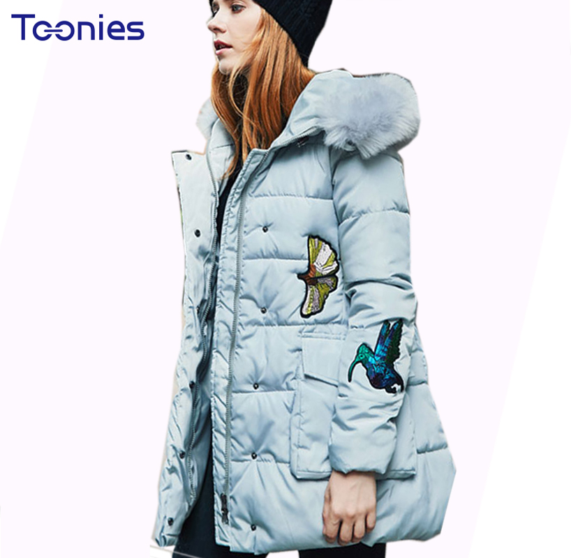 Parka Femme New Fashion Cute Cartoon Embroidery Winter Jacket Women Coat Fur Hooded Manteau Femme Hiver Slim Coats Ladies new 2017 winter autumn cotton short basic jacket women hooded casaco coat warm manteau hiver femme fur collar slim coats