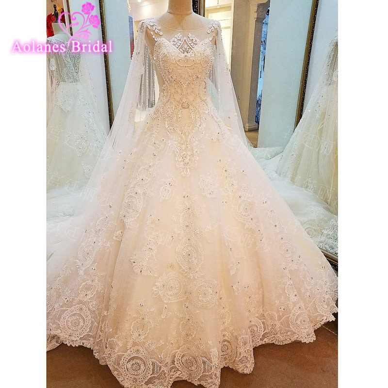 New 2017 Sheer Back A Line Wedding Dress Applique Lace