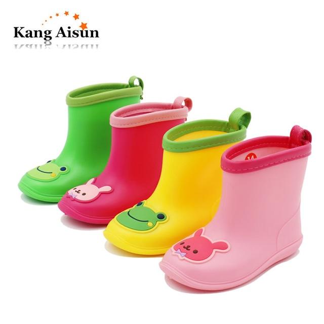 720ec6ca1a4 US $15.56 5% OFF|KANGAISUN Baby Cartoon Rainboots Boys Girls Kids Antiskid  Wellies Water Shoes Rubber Toddler Shoes Autumn Winter Warm Rainboots-in ...
