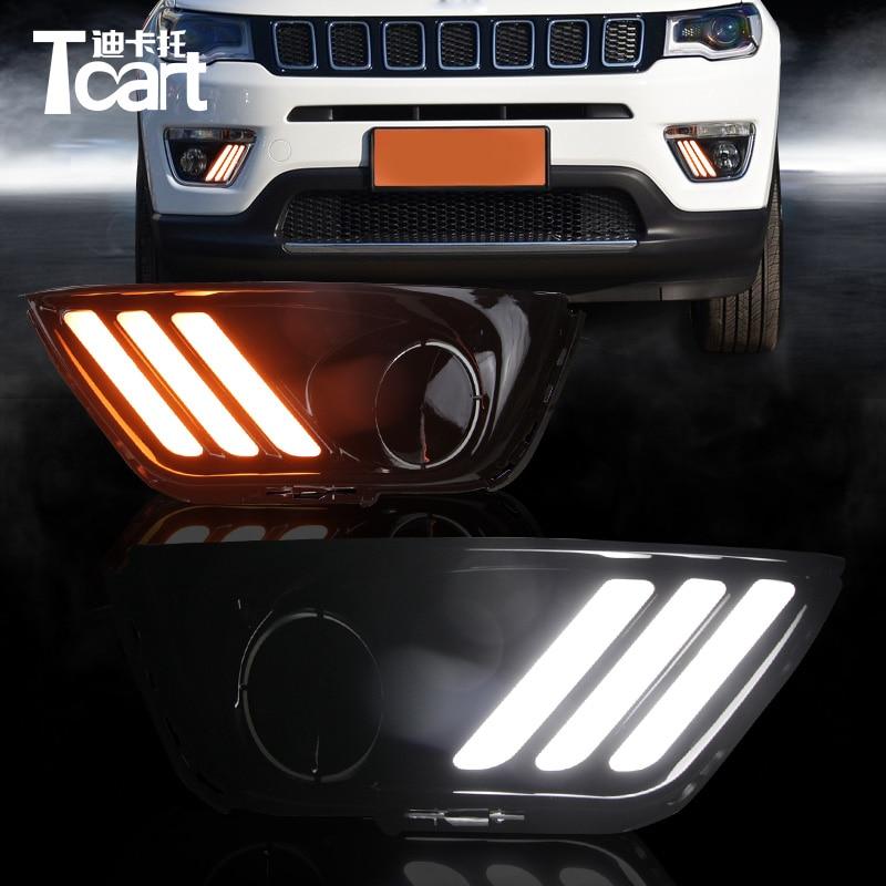 Tcart voiture DRL lampes pour Jeep boussole 2017 2018 feux de jour LED feu de brouillard clignotant accessoires de voiture