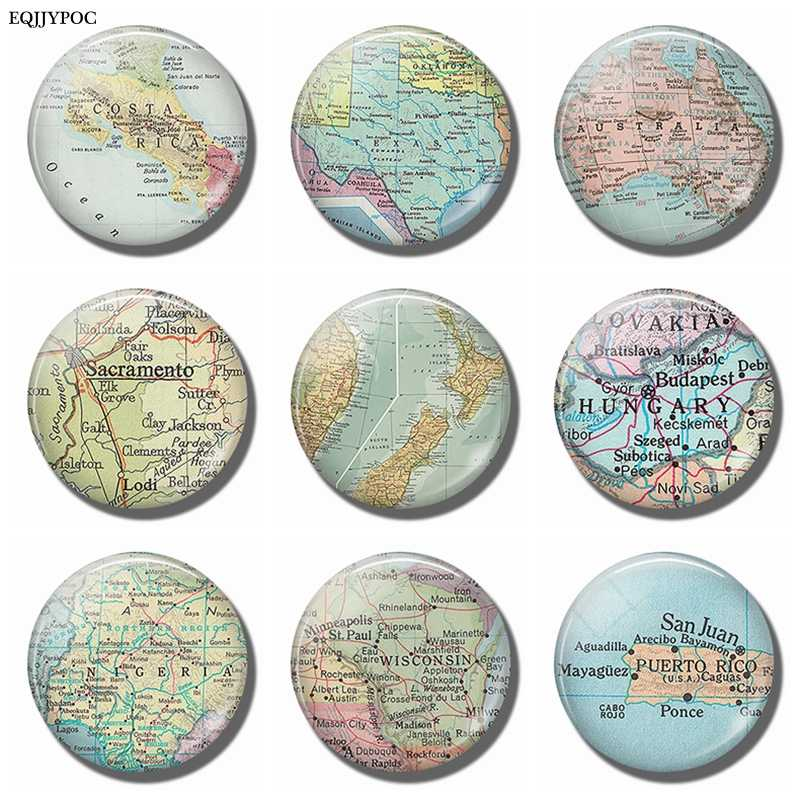 Puerto Rico Wisconsin Nigeria Hungary New Zealand Sacramento Australia Texas Costa Rica Map Souvenir Fridge Magnet Sticker Decor