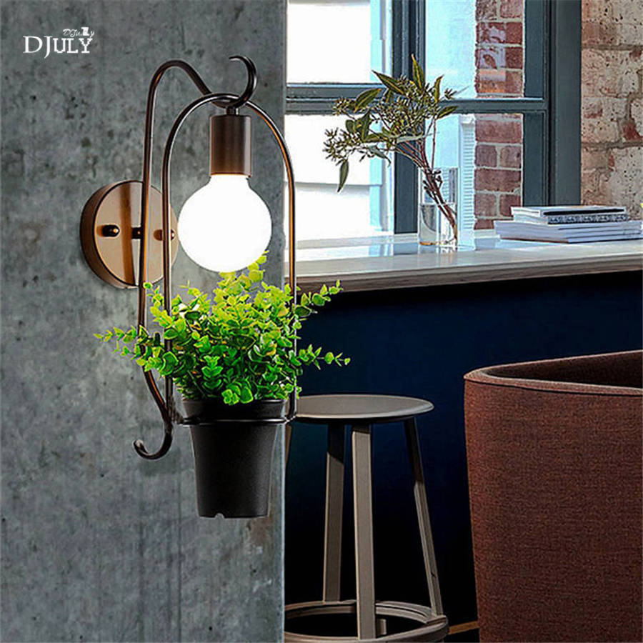 nordic creative Artificial plants iron wall lamp for study dining room cafe bar bathroom light elegant loft decor led wall lightnordic creative Artificial plants iron wall lamp for study dining room cafe bar bathroom light elegant loft decor led wall light