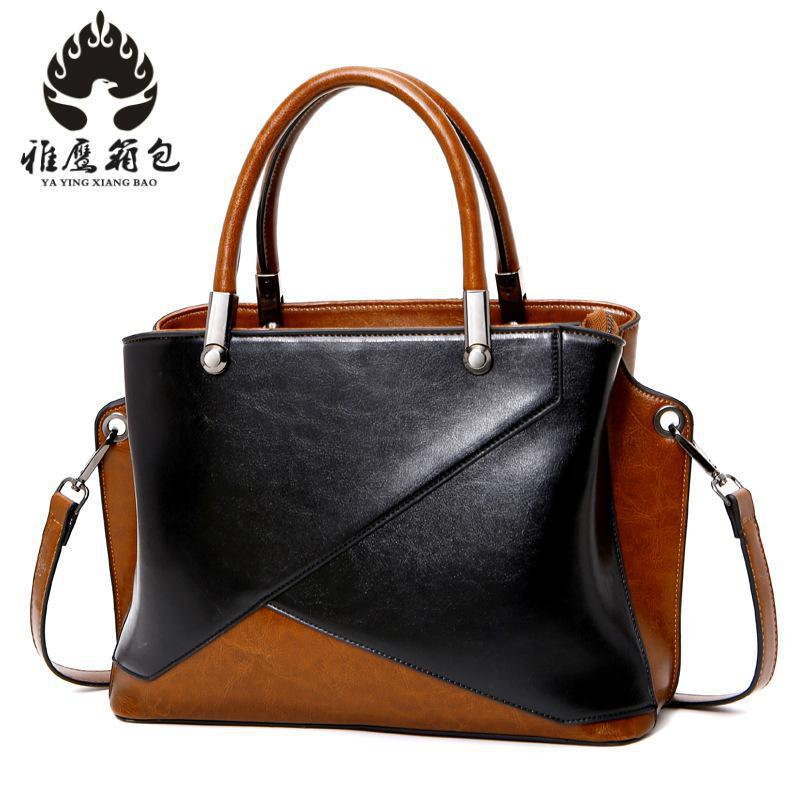 New 2018 Fashion Tote Free Shipping 100% Genuine Natural Cow Leather Patchwork Handbags Women Messenger Bag Purse