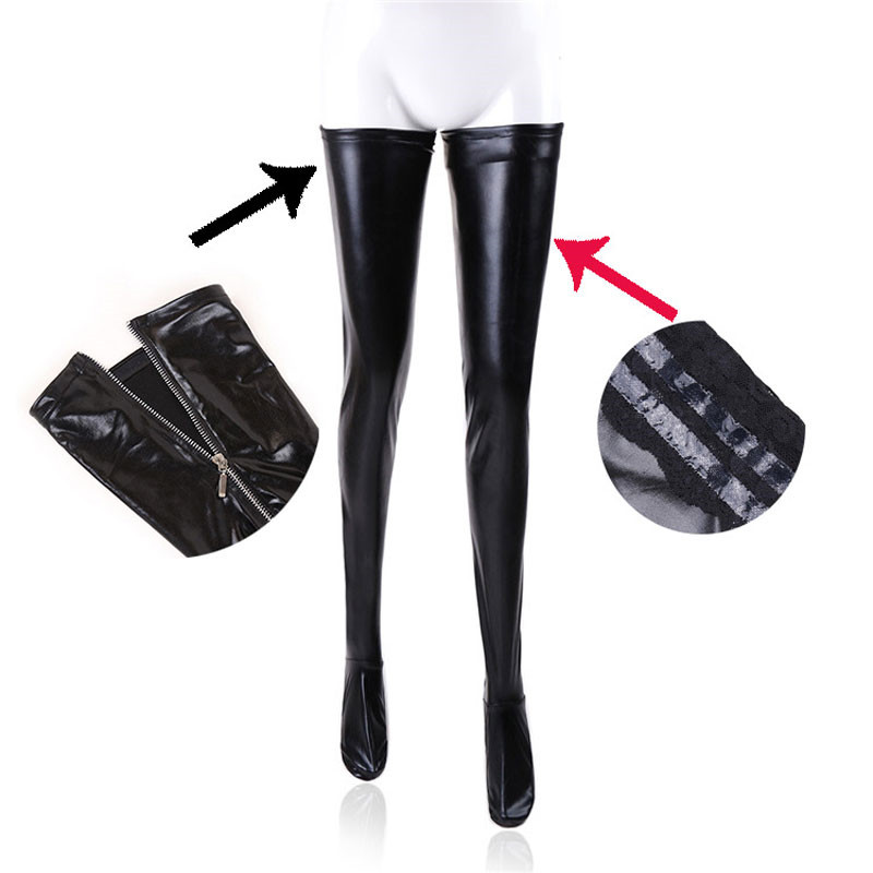 Women Sexy Latex Zipper Stockings Lady's Black PVC Pole Dance Leather Erotic Clubwear Length Over Knee High Stockings