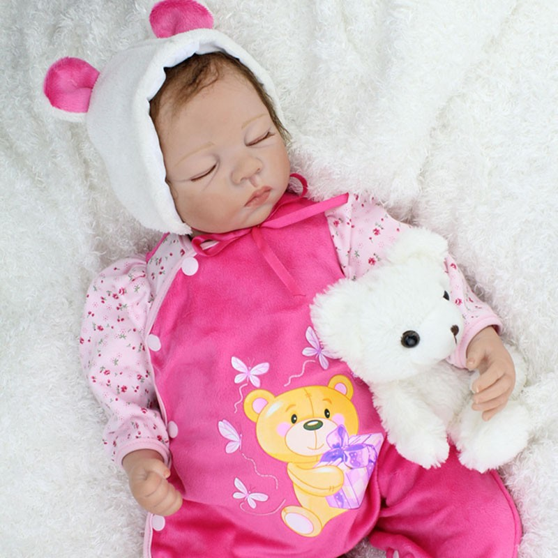 купить Silicone Reborn Baby Dolls Sleeping Babies Lifelike Real Vinyl Belly Toys For Girls Bebe Alive Brinquedos Reborn Bonecas по цене 5779.11 рублей