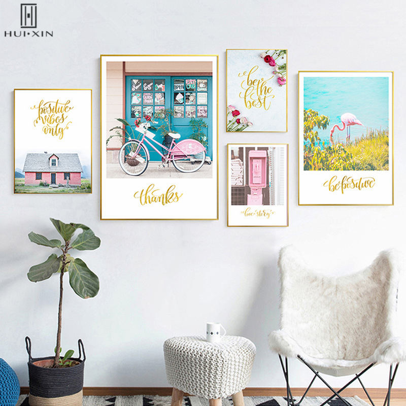 Nordic Landscape Flamingo By River Pink Bicycle Before Shop Red Roses Mail Box HD Unframed Decorative Painting For Home Decor