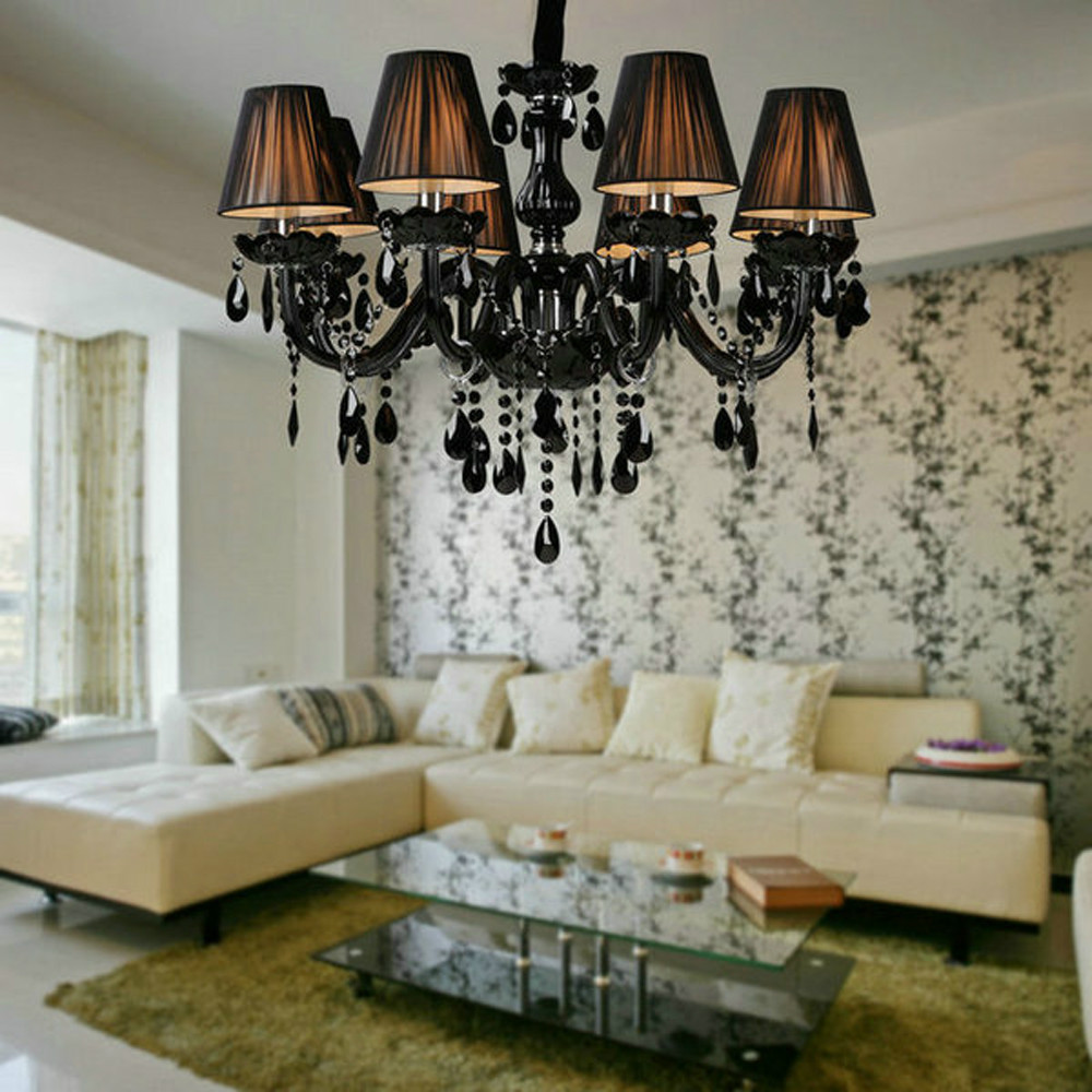 popular crystal lamp shades buy cheap crystal lamp shades lots free shipping 8 lights black glass crystal chandelier with lamp shade for living room china
