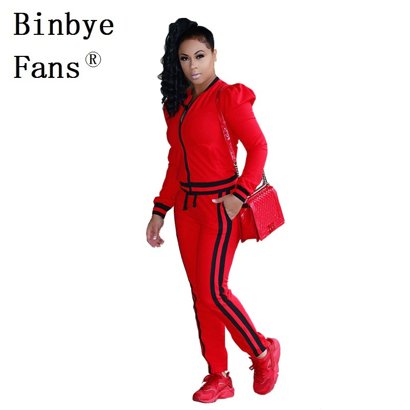 Binbye Fans Two Piece Set Zipper Jackets Top And Side Striped Pants Fitness Outfit Casual Track Suits Women Tracksuit CH208