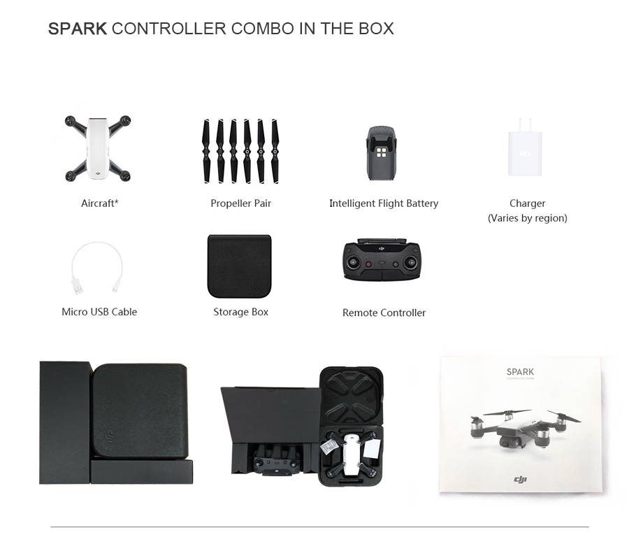 DJI Spark Mini Drone &Spark Controller Combo &Fly More Combo,With 1080P HD video recording 12MP Camera 16mins Flight time drones2