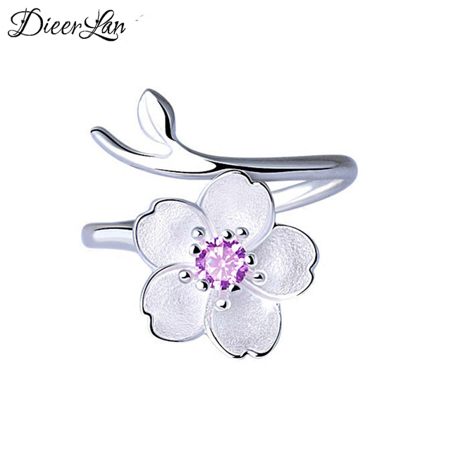 New Arrivals 925 Sterling Silver Cherry Blossoms Flower Rings for Women Adjustab