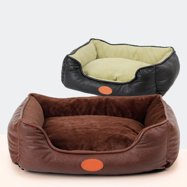 Luxury Dog Cat Pet Bed House Elegant PU Leather Pets Sofa Kennel Warm Soft  Doghouse For