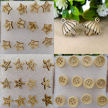 6 Pairs Women's Stylish Shape Wooden Ear Stud Earrings Fashion Charms Gift