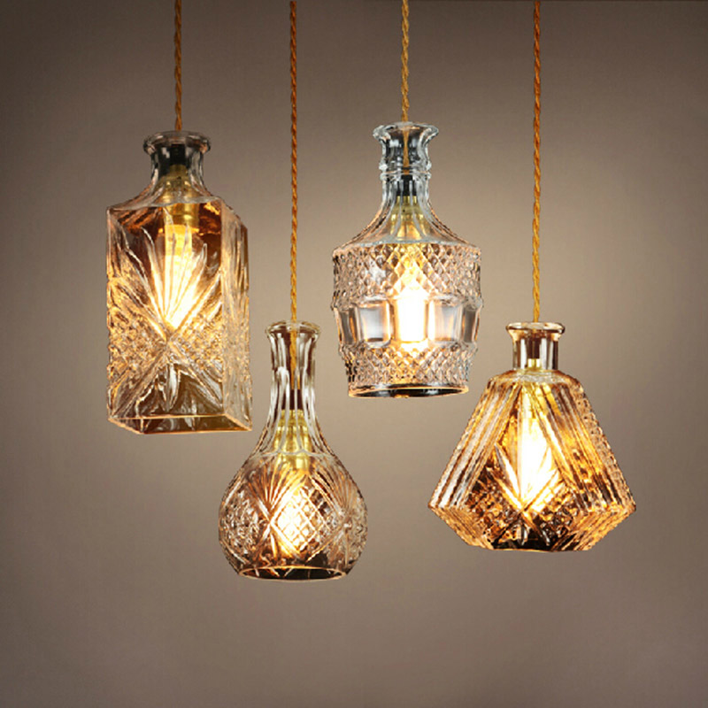 ФОТО Retro Vintage Pendant Lights Glass Lamshade Loft Pendant Lamps E27 edison for Dinning Room light industrial lighting fixtures