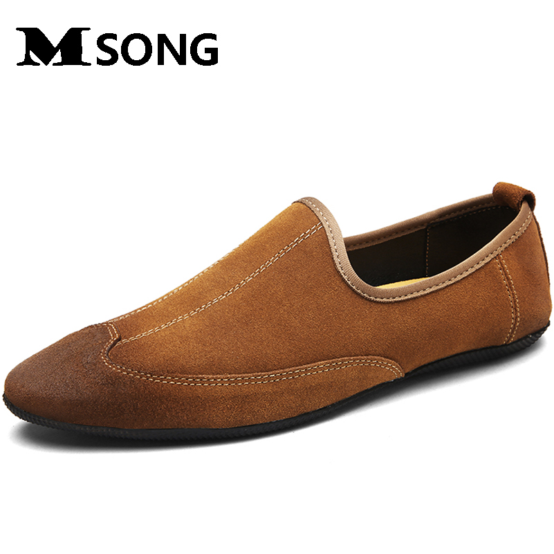 MSONG Size 38~44 High Quality Genuine Leather Men Shoes Soft Moccasins Loafers Fashion Men Flats Comfy Casual Driving Shoes 2017 new brand breathable men s casual car driving shoes men loafers high quality genuine leather shoes soft moccasins flats