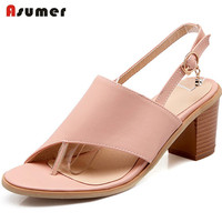 Asumer PU Soft Leather Buckle Women Shoes Sandals Fashion Elegant Summer Shoes Party Open Toed Buckle
