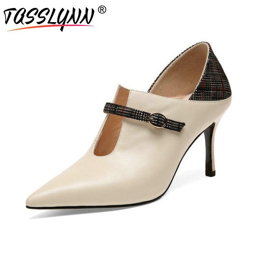 cf5194884e8 Vaca Cuero Punta Delgados Tacones Mujer Tamaño Tasslynn Beige Sexy pu  Hebilla Mujeres Zapatos Estrecha 39 negro Bombas 2018 34 ...