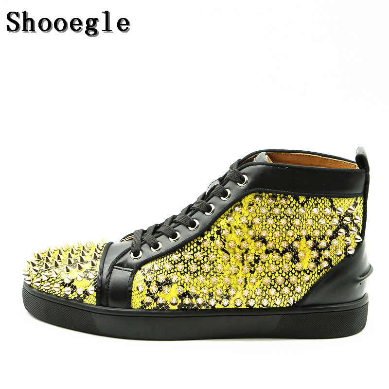 SHOOEGLE Fashion Men Sneakers Hightop Casual Shoes Men Spike Shoes Rivets Flat Leather Platform Mens Ankle Boots Zapatos Hombre new fashion men luxury brand casual shoes men non slip breathable genuine leather casual shoes ankle boots zapatos hombre 3s88