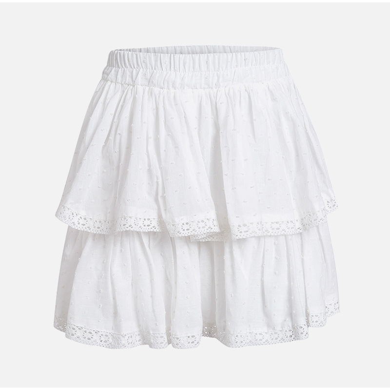 High Waist A-Line Mini White Skirt 4