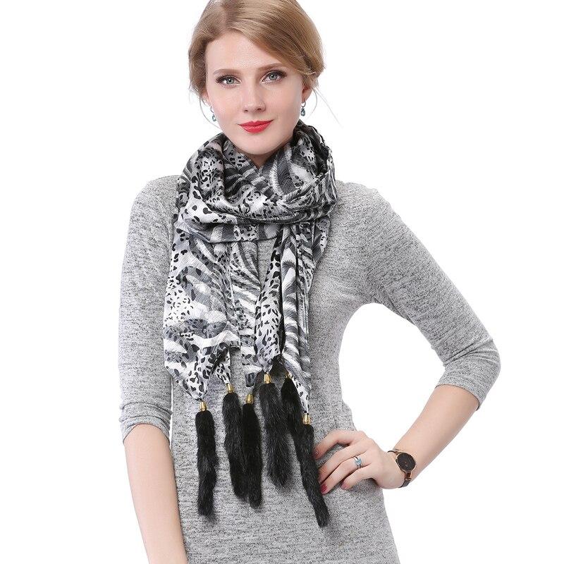 Valpeak 2018 Frauen Lange Silk Schal mit Nerz Quaste Schal lange 175 cm * 35 cm Cape Winter Schal