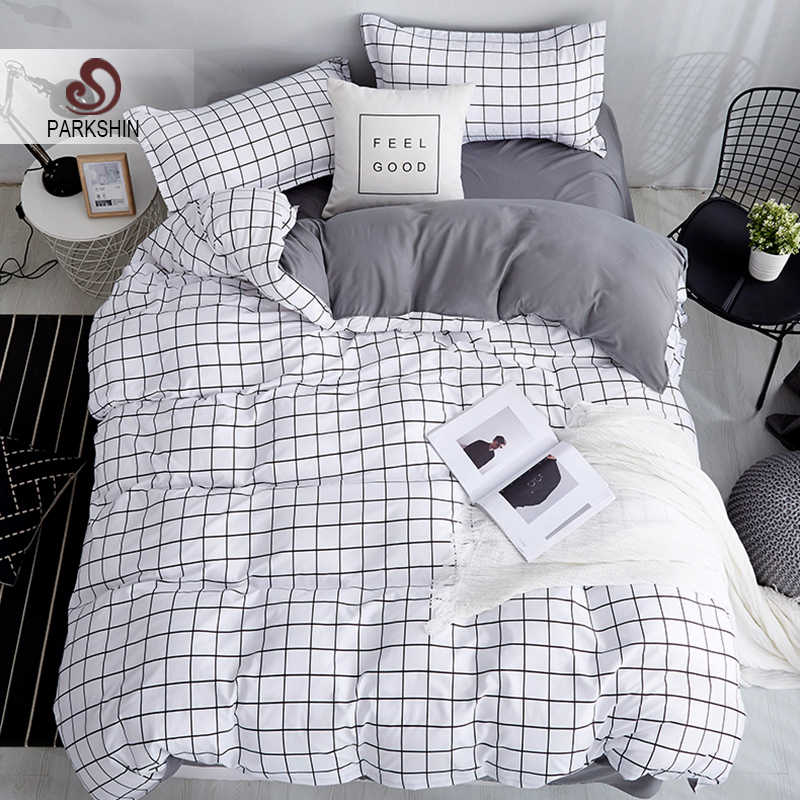 ParkShin White Black Geometric Grid Bedding Set Brief Style 3/4PCS Bedspread Bed Linen Euro Home Textiles Printing Bedclothes