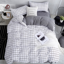 ParkShin White Black Geometric Grid Bedding Set Brief Style 3 4PCS Bedspread Bed Linen Euro Home