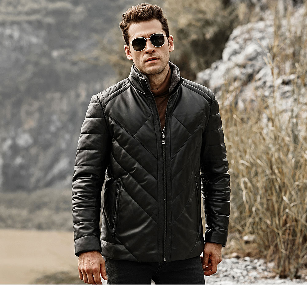 HTB1a7VPlCMmBKNjSZTEq6ysKpXah FLAVOR Men's Real Leather Down Jacket Men Genuine Lambskin Winter Warm Leather Coat with Removable Standing Sheep Fur Collar