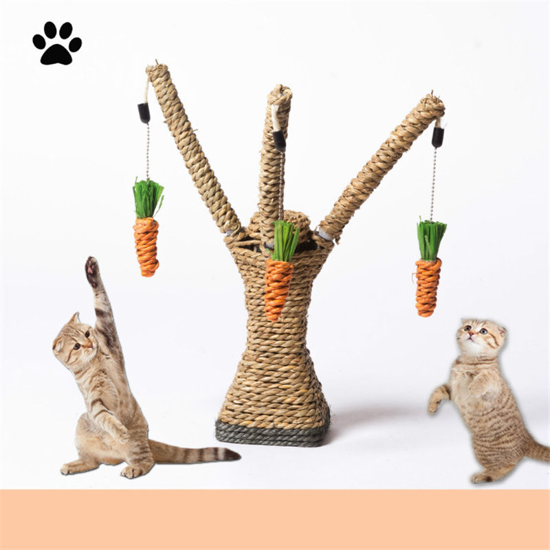 Ortilerri The Cat Climbing Frame Sisal Rope Scratching Cat Toy Sisal Grinding Claws Scratching Post Platform Pet Supplies
