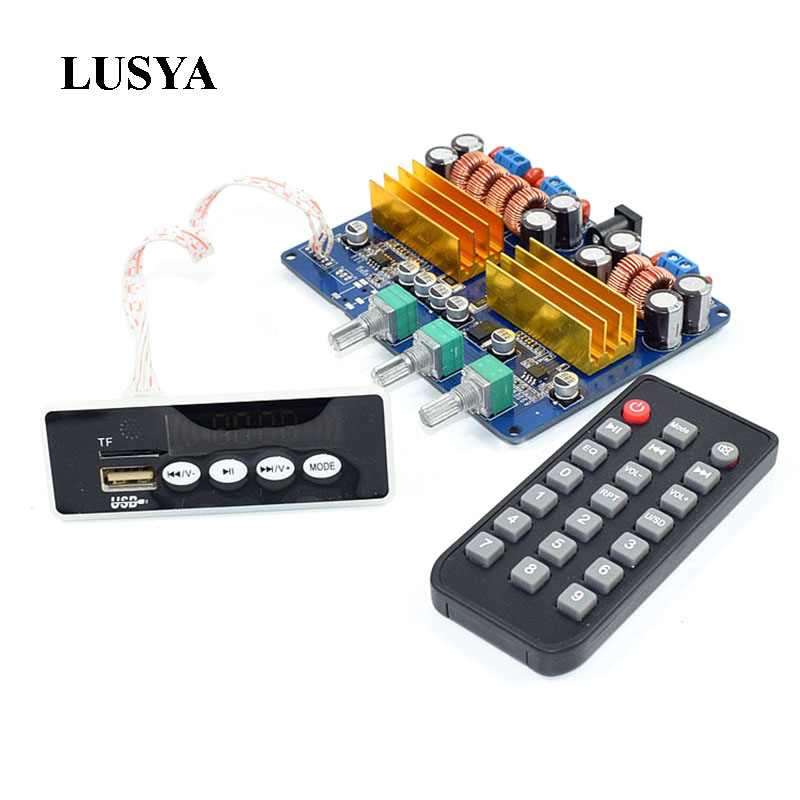 Lusya TPA3116 2.1 Channel High Power Bluetooth Digital Audio Amplifier Board TF card USB Subwoofer Speaker Amplifiers 2*50W+100W цены
