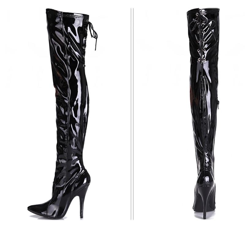 De Femmes Cm Noir Talons 12 Verni Sur Cuir 12cmheel Mode Cuisse Gothique Fenty Glossyblack Bottes Chaussures Longues Haute Lady En Genou Beauté w7dYqBrq