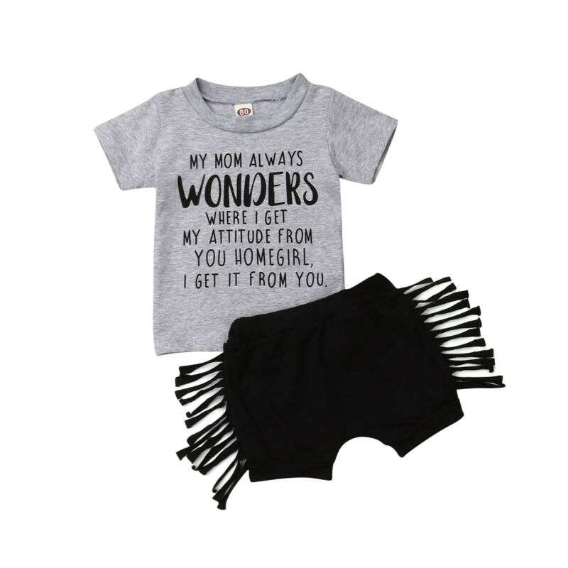 2019 Toddler Kids Baby Girls Clothes Sets Summer Casual Girl Cotton 2Pcs Letter T-shirt+Tassels Shorts Baby Girl Outfits 0-3Y