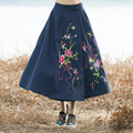 Estilo étnico falda otoño invierno vintage mujeres de la manera elástico de cintura alta bordado patrón de la altura del tobillo faldas de las señoras nueva