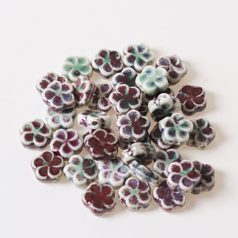 20pcs Unique Handmade Porcelain Beads Round Flower Printed Loose Craft Bead 12mm