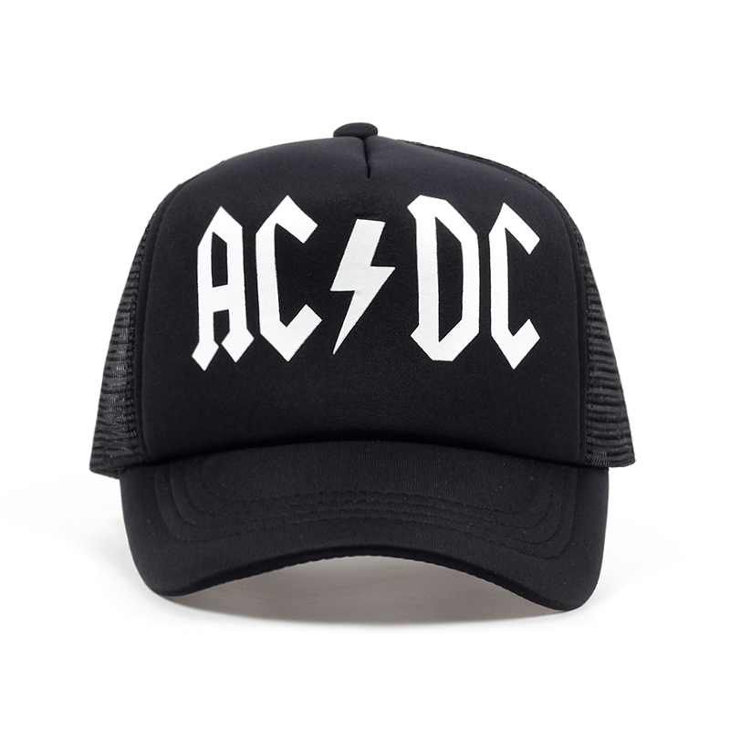 TUNICA Men Women Cool Trucker Mesh Caps ACDC Band Rock Fans Cap AC/DC Rock Band Caps AC DC Heavy Metal Rock Music Fans Cap Hat