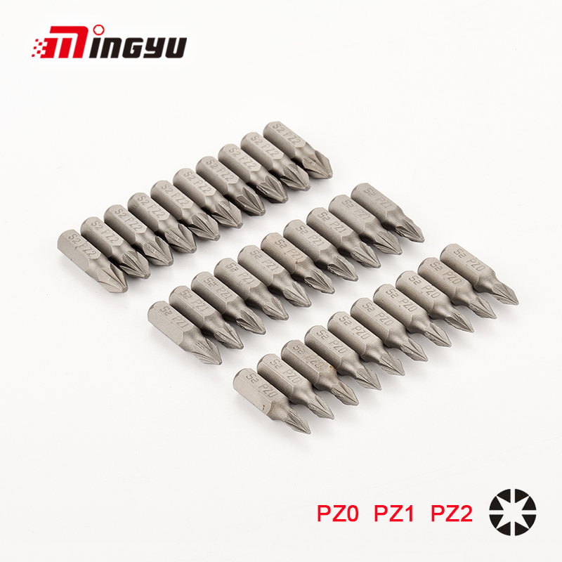 10pcs 25mm S2 Alloy Steel Pozidriv Bits 1/4 Inch 6.35mm Hex Shank PZ0 PZ1 PZ2 PZ3 Anti Slip Electric Screwdriver Pozi Bit Set