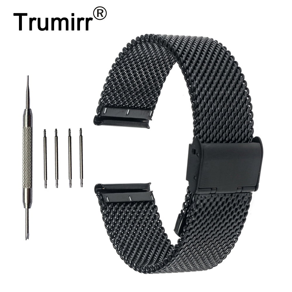 20mm Milanese Watch Band + Tool for Ticwatch 2 42mm Mesh Stainless Steel Watchband Metal Strap Bracelet Black Rose Gold Silver image