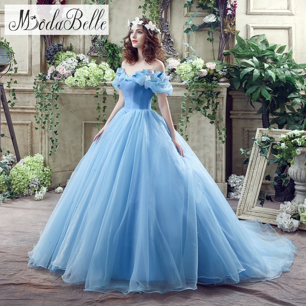 Light Blue Fluffy Corset Ball Gown Prom Dresses Fast Shipping In ...