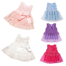 Summer Spring Toddler Girls Baby Kids Bebe Dress Princess Party Cute Newborn Wedding Big Bow Lace Dress Clothing