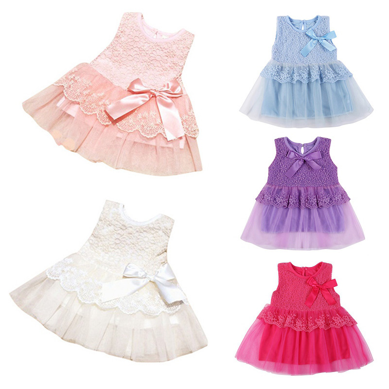 Sommer Vår Toddler Girls Baby Kids Bebe Kjole Prinsesse Party Søt Nyfødt Bryllup Big Bow Lace Dress Klær