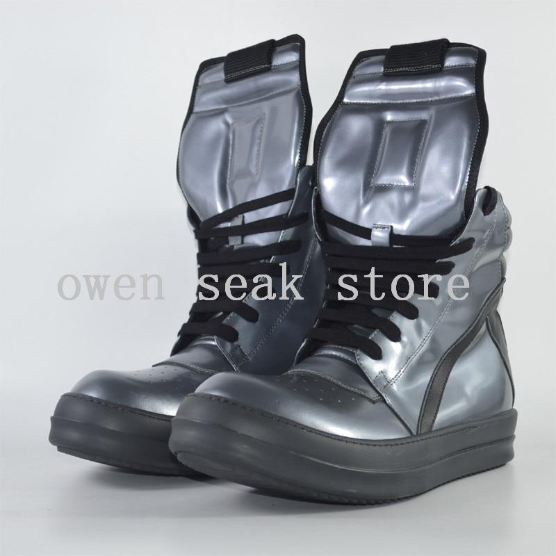 Owen Seak Mannen Schoenen High TOP Enkellaarsjes Echt Leer Sneaker Luxe Trainers Laarzen Casual Lace up Zip platte Zilveren Grote Schoenen op  Groep 2