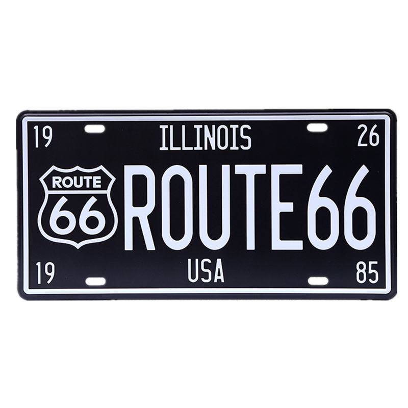 15*30cm US Illinois ROUTE 66 Digital Car Number License Plates Wall Sticker Decor Iron Retro Tin Metal Signs Plaques Mural A463